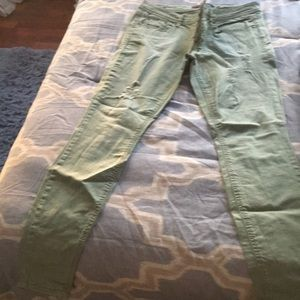 Denim - Green jeans with some distress